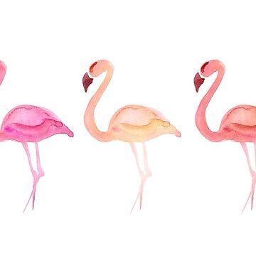 Watercolour Pink Flamingo Birds by DV-LTD