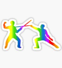Colorful Fencing Rainbow Sticker Sticker