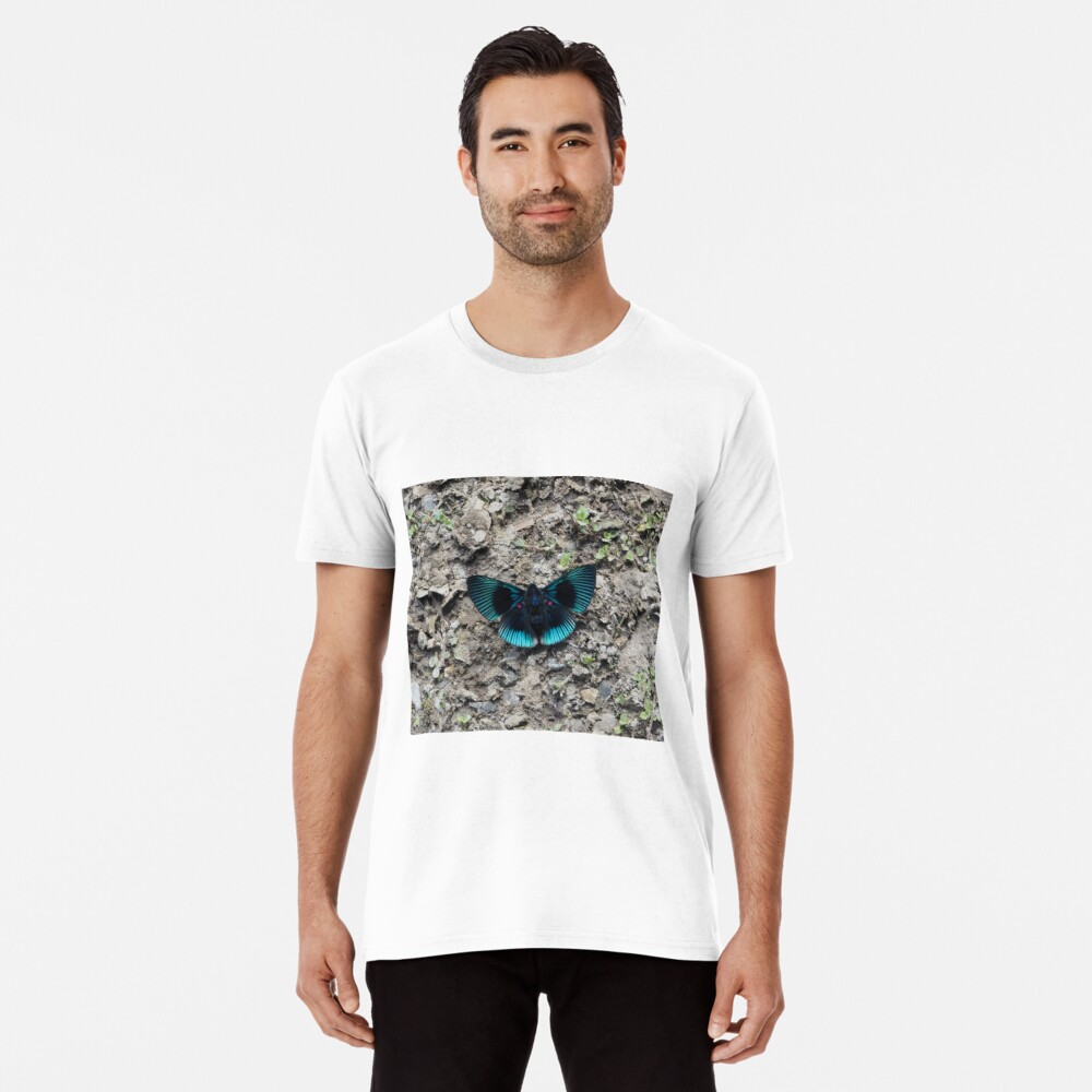 A stunning blue and black striped butterfly Premium T-Shirt