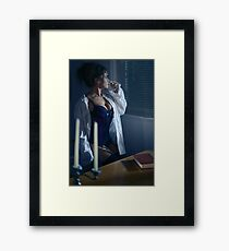Beautiful sexy woman in a men's shirt on top of a corset sitting by the window at night art photo print Framed Print