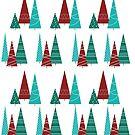 Teal and Red Christmas Tree Pattern by teekastreasures