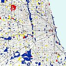 Map of Chicagoland in the style of Piet Mondrian by MotionAge Media