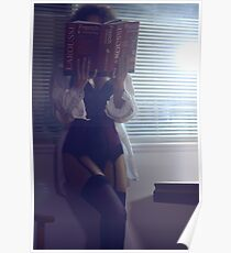 Sensual concept of sexy woman in corset and stockings reading French dictionary at night art photo print Poster