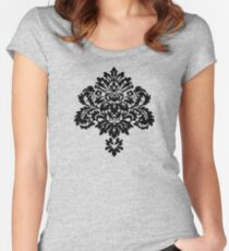 Decorative Girly Victorian Style Vintage Floral Ornament Women's Fitted Scoop T-Shirt