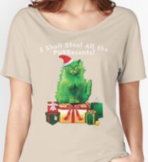 Steal All The PURResents Green Grinch Cat Who Stole Christmas Holiday Funny Women's Relaxed Fit T-Shirt