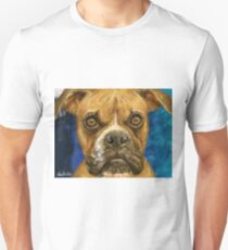 A painting of a brown Boxer looking straight at you T-Shirt