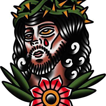 Traditional Jesus Tattoo Piece by radquoteshirts