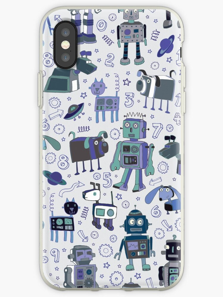 Robots in Space - blue and grey - fun pattern by a Cecca Designs by Cecca-Designs