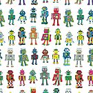 Robot Line-up on White - fun pattern by Cecca Designs by Cecca-Designs