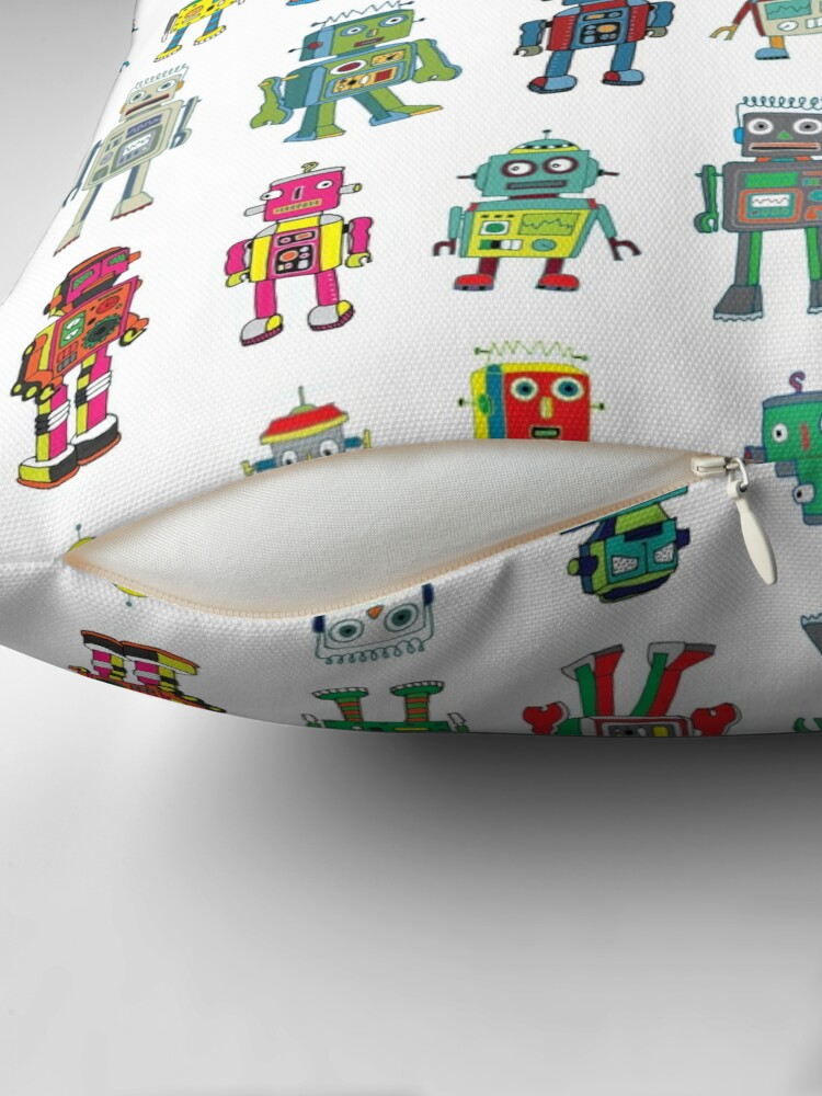 Alternate view of Robot Line-up on White - fun pattern by Cecca Designs Floor Pillow