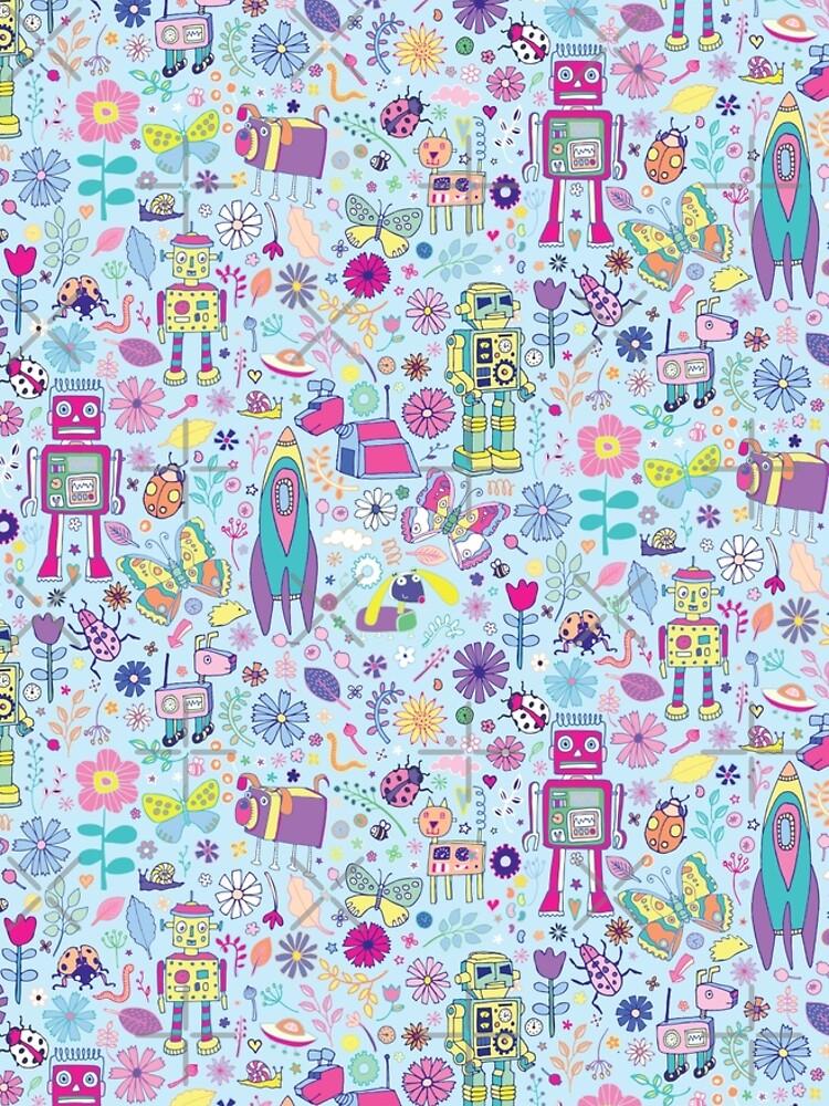 Electric Dreams - fun floral robot pattern by Cecca Designs by Cecca-Designs