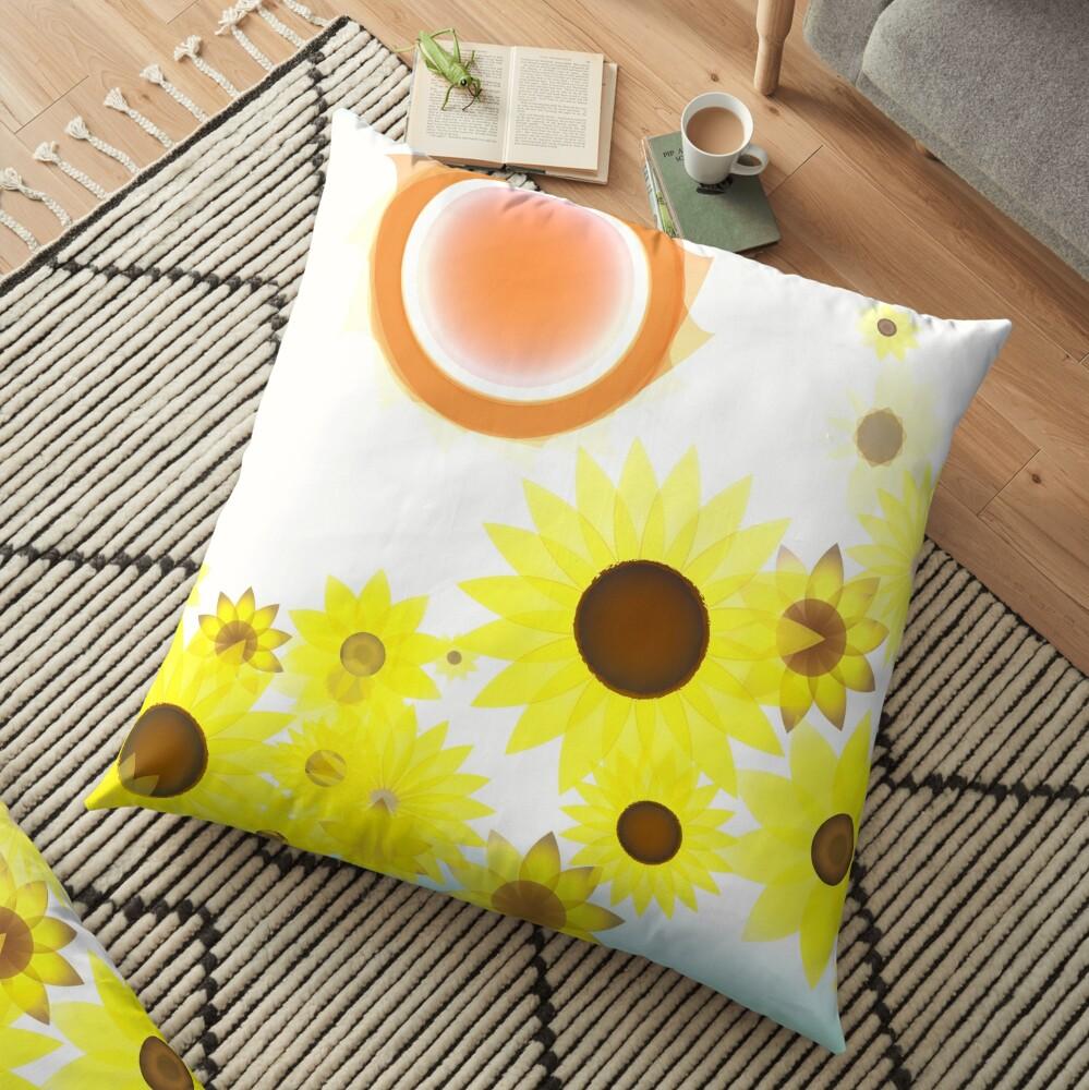 Sun and Sunflowers Floor Pillow