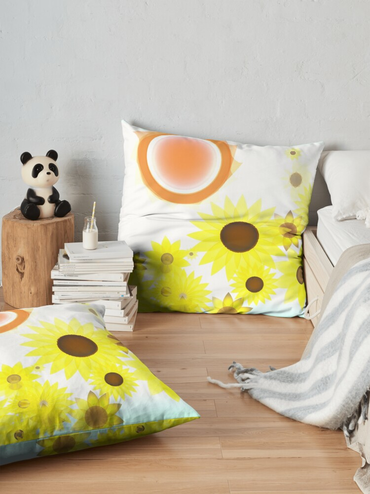 Alternate view of Sun and Sunflowers Floor Pillow