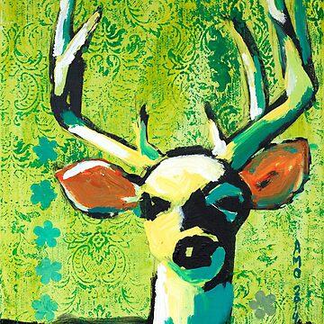 Deer With Orange Ears by AMOpainting