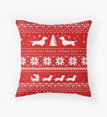 Dachshunds Christmas Sweater Pattern Throw Pillow