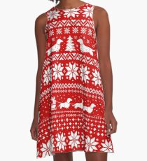 Dachshunds Christmas Sweater Pattern A-Line Dress