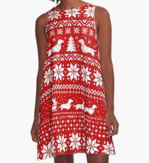 Dachshunds Christmas Sweater Pattern A-Line Dress