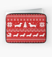 Dachshunds Christmas Sweater Pattern Laptop Sleeve