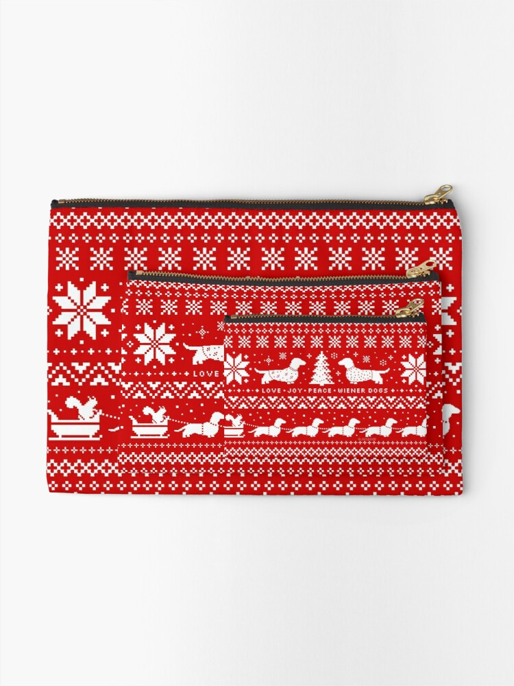 Alternate view of Dachshunds Christmas Sweater Pattern Zipper Pouch