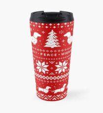 Dackel-Weihnachtsstrickjacke-Muster Thermobecher