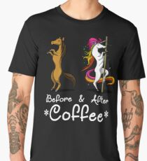 Before And After Coffee Unicorn Magical Pole Dancing T-Shirt Men's Premium T-Shirt