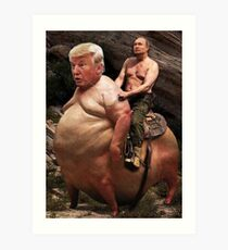 Putin riding Trump Art Print