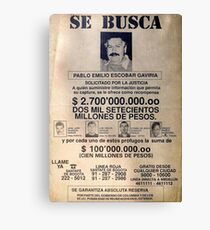 Lienzo Pablo Escobar wanted poster