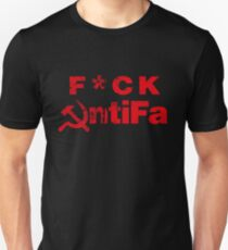 F*ck AntiFa - censored - black red Unisex T-Shirt