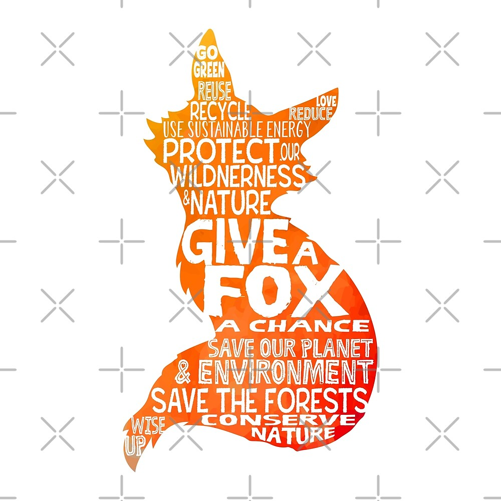 Give a Fox Silhouette - Save Our Planet - World Bubble by jitterfly