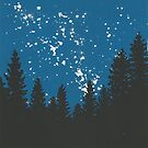 Starry Night Sky and Treeline by Danielle Dewees