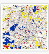 Paris Piet Mondrian Style City Street Map Art Sticker