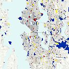 Seattle Piet Mondrian Style City Street Map Art by MotionAge Media