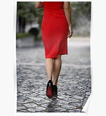 Sexy woman wearing red dress and high heels walking on city street art photo print Poster