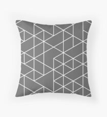 triangles, white and medium gray Throw Pillow