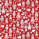 Robot Pattern - Red and White - fun pattern by Cecca Designs by Cecca-Designs