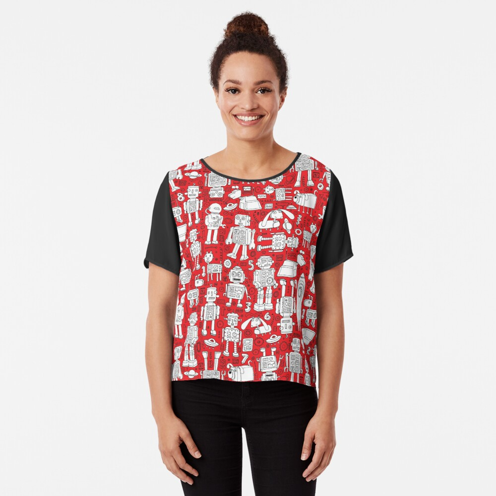 Robot Pattern - Red and White - fun pattern by Cecca Designs Women's Chiffon Top Front