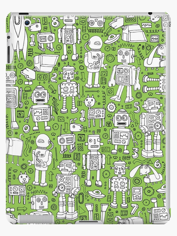 Robot Pattern - green and white - fun pattern by Cecca Designs by Cecca-Designs