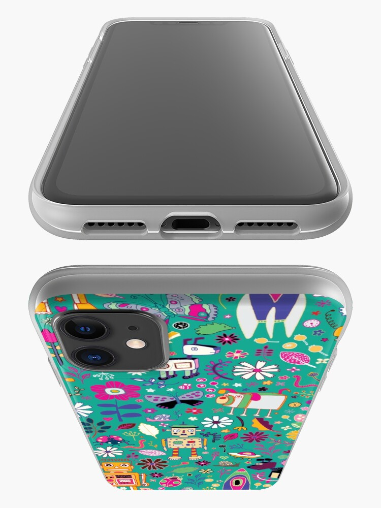 Alternate view of Electric Dreams - pink and turquoise - floral robot fun pattern by Cecca Designs iPhone Case & Cover