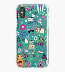 Electric Dreams - pink and turquoise - floral robot fun pattern by Cecca Designs iPhone Case/Skin