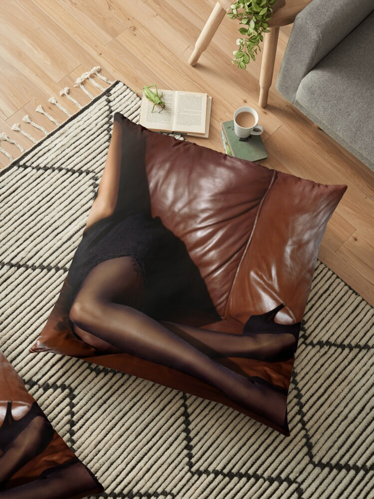 Fine Sexy Woman Lying On Brown Leather Couch In Black Dress Stockings And High Heels Art Photo Print Floor Pillow By Awenartprints Dailytribune Chair Design For Home Dailytribuneorg