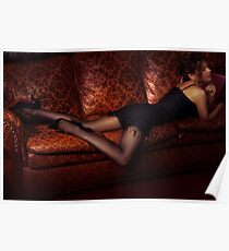 Sensual portrait of sexy woman lying on luxurious couch in black dress stockings and high heel shoes art photo print Poster