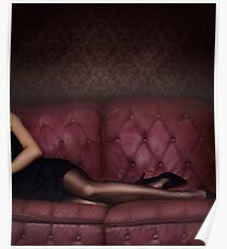 Closeup of sexy legs in black stocking of woman lying on luxurious dark pink tufted couch art photo print Poster