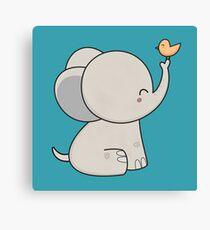 Kawaii Cute Happy Elephant  Canvas Print
