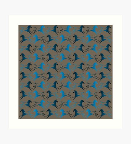 Blue Brown War Horse Art Print