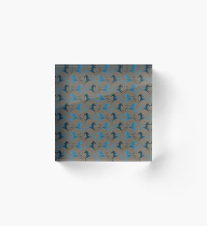 Blue Brown War Horse Acrylic Block