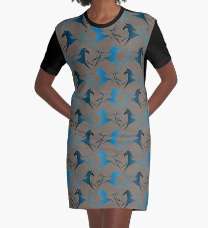 Blue Brown War Horse Graphic T-Shirt Dress