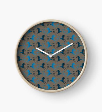 Blue Brown War Horse Clock