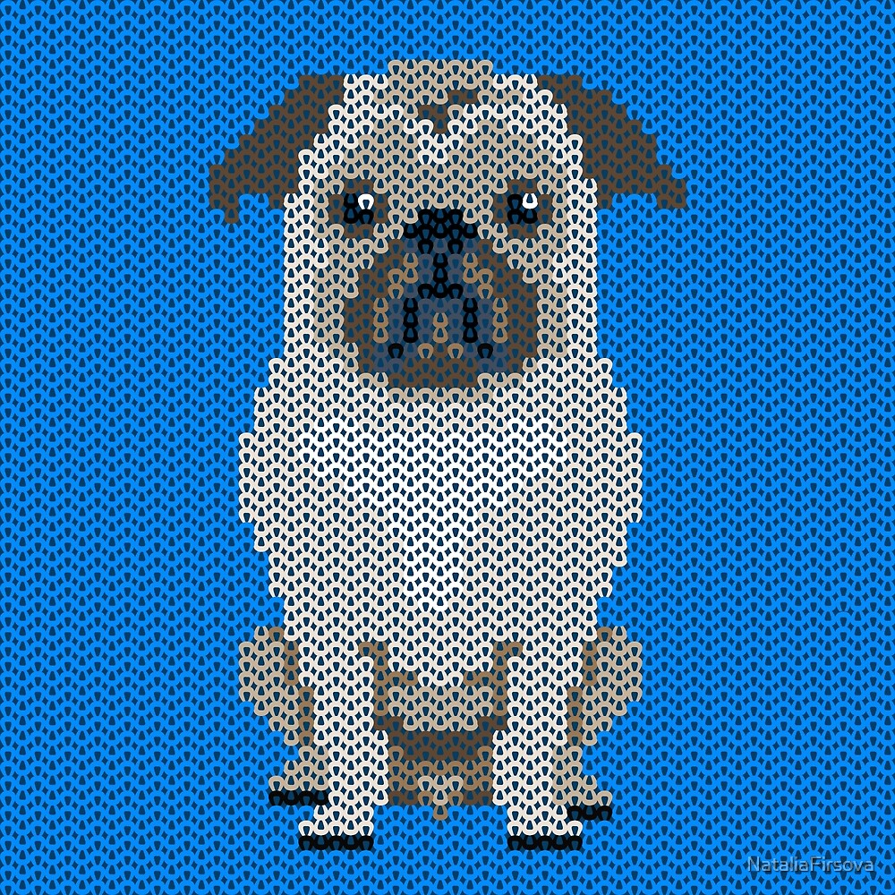 Knitted pug-dog pattern on blue background\