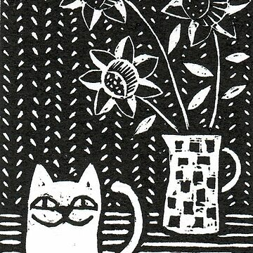 Happy Cat - Original Wood engraving by Francesca Whetnall by Cecca-Designs
