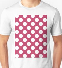 Bright Rose pink white polka dots Unisex T-Shirt